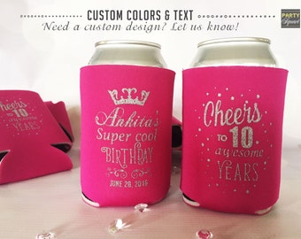 Birthday Party Can Covers, Personalized Can Covers, Princess Party decor, Soda Can Cooler, Custom Reception Favor, Sweet 16 decor