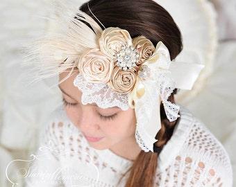 Ivory Headband/Baby Headband/Infant Headband/Newborn Headband/Toddler Headband/Girl Headband/Birthday Headband/Photo Prop/First Birthday