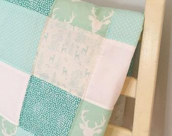 Stag Patchwork Baby Blanket - Mint Green Cream - Woodland Nursery Decor - Baby Gift - Scandi Style - Adventure Forest Deer Buck