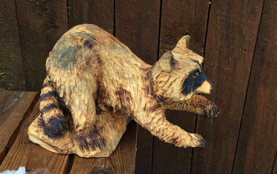 Sale raccoon chainsaw carving wood carved by