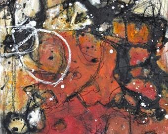 red abstract painting orange yellow black modern art original acrylic Leah Fitts Blast
