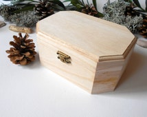 Wooden box- large six side box- unfinished wooden box with bronze colored hinges- bamboo wood box- wooden supplies- craft box