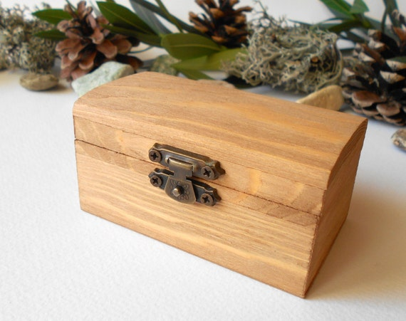 Small rustic wooden chest box brown decoupage by - Small rustic wooden boxes ...