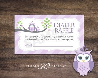 Instant Download Lilac Owl Diaper Raffle Cards, Grey Purple Owl Baby Shower Diaper Raffle for Girl, Lavender Diaper Raffle Prize Drawing 23H