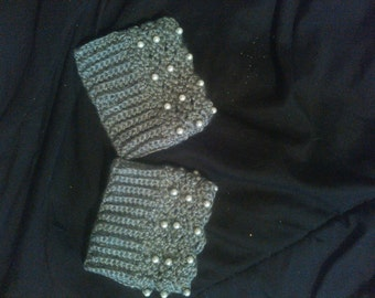 Gorgeous Gray Beaded Boot Cuffs