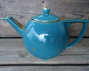 Hall 6 Cup Teal and Gold Teapot