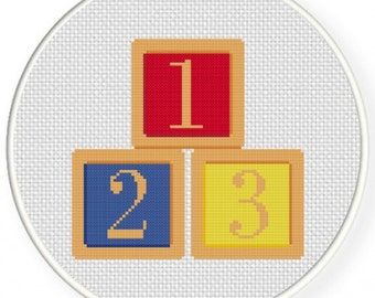 123 Blocks, Handmade Unframed Cross Stitch- Baby Room Decor, Toddler Room Decor, Baby Shower Gift, Baby Wall Art, Number Blocks, Baby Gift