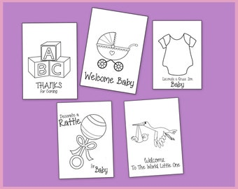 Baby Shower Coloring Book - Printable Party Favors or Gifts - Also Great For a Craft or Game