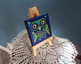 Small owl painting, Mini canvas painting, Owl art, Unique painting with easel, Small Format Art