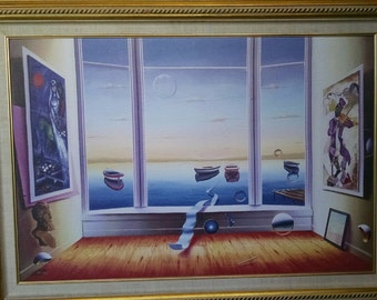 """Vintage Surrealism Giclee on Canvas Painting Entitled """"Safe Harbor"""" by listed artist Ferjo REDUCED"""