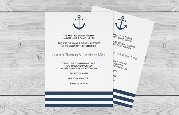 Nautical Wedding Invitation Template Anchor Striped