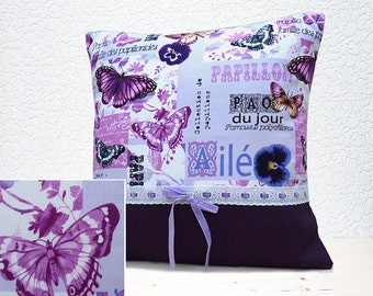 "Handmade 16""x16"" Cotton/Linen Cushion Pillow Cover in Aubergine/Mauve/Pink/Purple/White Papillon Butterfly/Floral Collage Design Print"