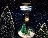 Narnia Light Up Mason Jar (Quart Size) Dry Snow Globe With Street Lamp and Christmas Trees (Replacement Light Kit Available)