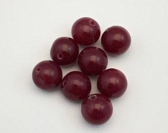8 red cherry quartz stone beads, 15mm #PP102