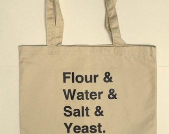 Market Tote, Bread Tote Bag, Screen Printed Organic Cotton Reusable Bag