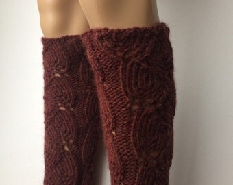 Soft Knitted Legwarmers, Leg warmers boot womens leg warmers, Cognac Heather  color or Select Color
