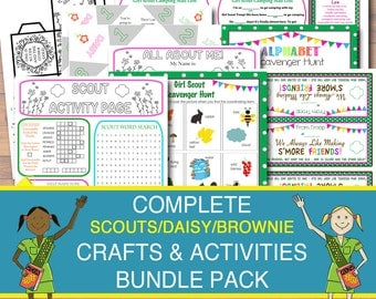 50% OFF Girl Scout Activity & Craft Pack, Girl Scout Printables, INSTANT DOWNLOAD Troop Meeting, Daisy Girl Scout Games, Camping Activites,