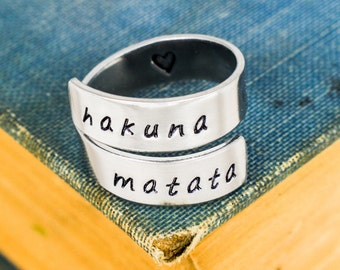Hakuna Matata Ring - Wrap Ring - Heart Ring - Twist Ring - Silver Ring - Gifts for Best Friends