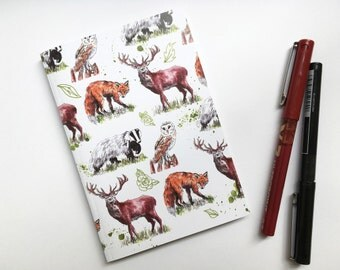 A6 Woodland Animal Notebook, Lined Notebook, Sketchbook, Animal Pad, Small Notebook, Animal Art