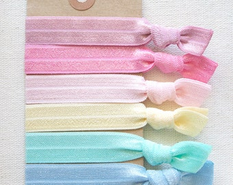 MACAROON Elastic Hair Ties, Ponytail Holders, Stretchy Ribbon Hair Ties, Elastic Hair Accessories, Yoga Hair Ties, Boho