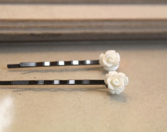 White Rose Bobby Pins, 2 pack, bobby pins, wedding, gift, bridesmaid