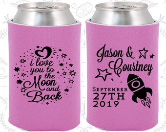 Love you to the moon and back, Wedding Party Favors, Spaceship, Moon Wedding Favors, Wedding Can Holder (267)