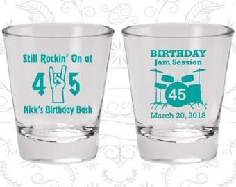 45th Birthday Shot Glasses, Promotional Birthday Shot Glasses, Still Rockin at 45, Birthday Jam Session, Birthday Shot Glasses (20069)