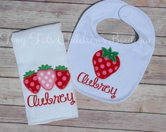 Strawberry Bib and Burp Cloth Set - Personalized Girl Burp Cloth Set - Embroidered Baby Girl Set - Baby Shower - Newborn