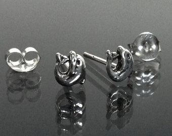 925 Solid Sterling Silver DOLPHIN  Earrings- Small- Oxidized- Studs