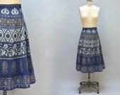 70s Wrap Skirt - Vintage Blue Greek Block print Wrap Skirt Belted Tie Skirt Gold and Indigo Cotton Hippie Boho Midi Skirt Size M