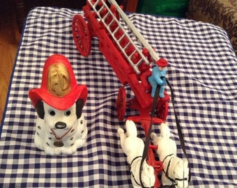 50% Off Summer Sale Cast Iron Horse and Fire Wagon and Jasco Ceramic Dalmation