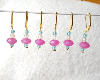 6 x Beaded Stitch Markers for Crochet or Knitting with Opening Clasp