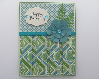 Happy Birthday Card, Birthday For Her, Birthday Pleated Card, Happy Birthday Cards, Birthday Cards, Gifts for Her, Happy Birthday,Floral