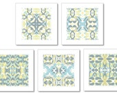 Blue Yellow Grey Art Set of 5 Prints for Bernadette