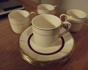small espresso sized cups and saucers made by Grindley dated 1940s