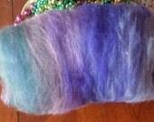 Alpaca blend batt of shades of purples, pinks, greens an English Perennnial Garden