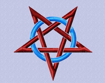 Embroidery pattern - Pentagram in circle - 2 sizes