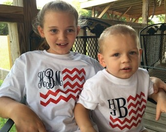 Personalized 4th of July Monogram flag t shirt for boy or girl