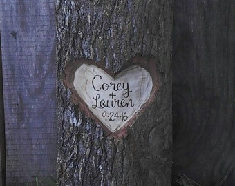 Log Slice Carved Heart With Your Names or Initials And Date Rustic Wedding Decor Home Decor
