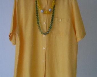 Vintage Yellow Silk Shirt - 100% Silk Blouse - Plus Size Vintage Blouse - UK16/18 - Ladies Silk Shirt -  Lemon Yellow Blouse -Mustard Yellow
