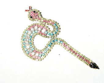 Czech Bohemian figural hand made glass rhinestone jeweled snake costume jewelry pin brooch 142-203
