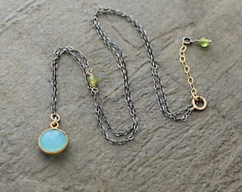 Aqua Chalcedony Pendant and Oxidized Sterling Asymmetrical Necklace - Chalcedony and Peridot - Ox Silver pendant necklace - Mixed Metal
