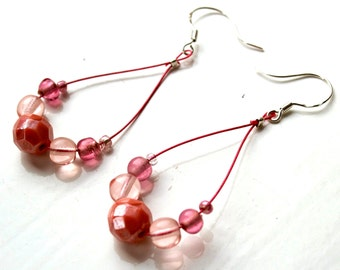 Pale Pink on Pink Wire Earrings