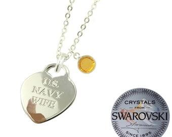 Navy Wife Swarovski Birthstone Necklace (Choose Your Month)