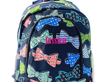 Personalized Bow Tie Backpack Monogrammed Bookbag Navy Blue Coral Polka Dot Girls Large Kids Tote School Bag Embroidered Monogram Name