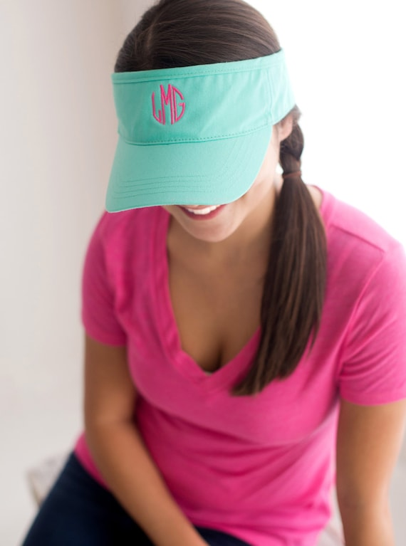 cheap monogrammed baseball caps ladies seersucker cap monogram visor personalized adult hat beach sports name embroidered pink yellow white