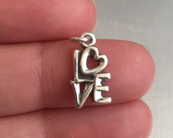 Love charm sterling silver charm pendant