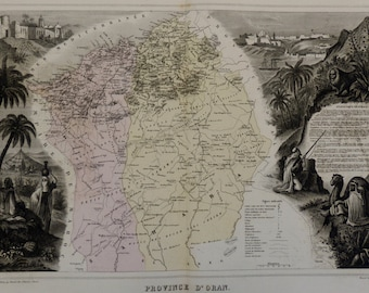 1880.Rare map.Oran Province (Algeria).Engraving.LARGE map.Old maps.18.3x13.7 inches or 47x35 cm.
