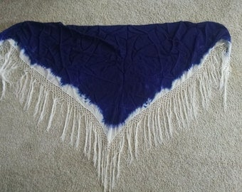 Royal Blue Silk Tye Dyed Hip Scarf or Shawl