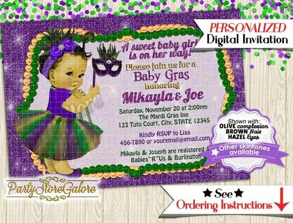 girls baby shower invitations girl mardi gras green purple tutu mask